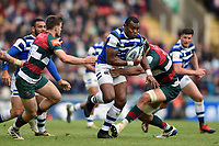 Semesa Rokoduguni of Bath Rugby takes on the Leicester Tigers defence. Gallagher Premiership match, between Leicester Tigers and Bath Rugby on May 18, 2019 at Welford Road in Leicester, England. Photo by: Patrick Khachfe / Onside Images