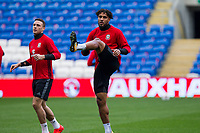 Ashley Williams during Wales national team training ahead of the World Cup Qualification match against Republic of Ireland at Cardiff City Stadium, Cardiff, Wales on 8 October 2017. Photo by Mark  Hawkins.