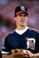 Travis Fryman of the Detroit Tigers during a game at Anaheim Stadium in Anaheim, California during the 1997 season.(Larry Goren/Four Seam Images)