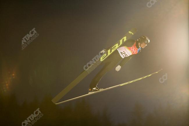 Men's large hill ski jumping in Pragelato, Italy during the Torino Winter Olympics. Jan Matura of CZE.