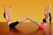 Woman enjoying Yoga stock photo