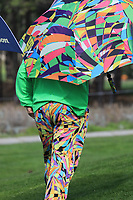 Colourful spectator in action at Monterey Peninsula Country Club during the third round of the AT&T Pro-Am, Pebble Beach Golf Links, Monterey, USA. 09/02/2019<br /> Picture: Golffile | Phil Inglis<br /> <br /> <br /> All photo usage must carry mandatory copyright credit (© Golffile | Phil Inglis)