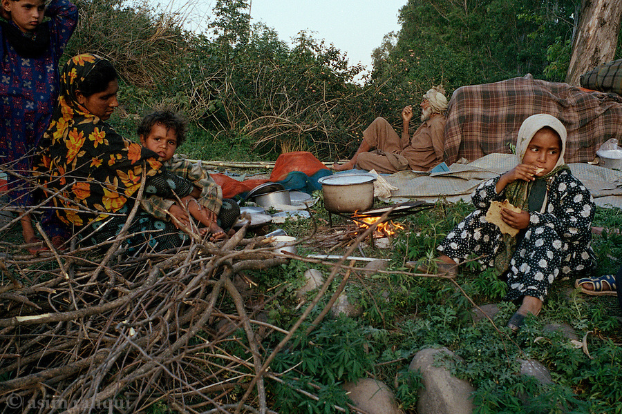 A group of Gujjar nomads - known to return to these parts of Kashmir every summer, make camp on the outskirts of Jammu