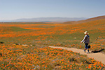 Woman hiking at the Antelope Valley California Poppy Reserve