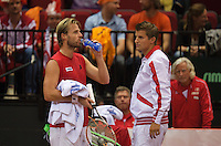 13-sept.-2013,Netherlands, Groningen,  Martini Plaza, Tennis, DavisCup Netherlands-Austria, First Rubber,   Oliver Marach(AUT) and captain Clemens Trimmel<br /> Photo: Henk Koster