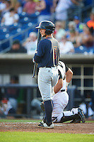 Bowing Green Hot Rods right fielder Zacrey Law (6) at bat during a game against the Quad Cities River Bandits on July 24, 2016 at Modern Woodmen Park in Davenport, Iowa.  Quad Cities defeated Bowling Green 6-5.  (Mike Janes/Four Seam Images)