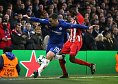 5th December 2017, Stamford Bridge, London, England; UEFA Champions League football, Chelsea versus Atletico Madrid; Thomas Partey of Atletico Madrid challenges Eden Hazard of Chelsea