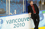 Greg Westlake takes time for a photo in front of the rink boards before Team Canada plays against Italy in Men's Sledge Hockey during the Paralympic Games in Vancouver.