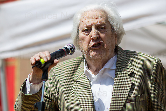"""Mario Fiorentini (Antifascist Partizan. Member of the Partigiani: the Italian Resistance during WWII).<br /> <br /> Rome, 25/04/2018. Today, to mark the 73rd Anniversary of the Italian Liberation from nazi-fascism ('Liberazione'), ANED Roma & ANPI Roma (National Association of Italian Partizans) held a march ('Corteo') from Garbatella to Piazzale Ostiense where a rally took place attended by Partizans, Veterans and politicians – including the Mayor of Rome and the President of Lazio's Region. FOR THE FULL CAPTIONS PLEASE CHECK """"Photo Stories - 2010 to Today"""" 25.04.2018."""