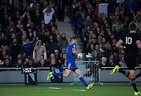 France's Remi Grosso scores during the Steinlager Series international rugby match between the New Zealand All Blacks and France at Eden Park in Auckland, New Zealand on Saturday, 9 June 2018. Photo: Dave Lintott / lintottphoto.co.nz