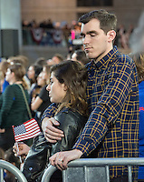 Sad Hillary Clinton supporters look on as the vote counts are announced during her Election Night Event at the Jacob K. Javits Convention Center in New York, New York on Wednesday, November 9, 2016.<br />