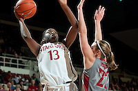 STANFORD, CA-JANUARY 18, 2012 - Chiney Ogwumike looks for the bottom of the basket in the second half against the visiting Washington State Cougars. The Cardinal defeated WSU 75-41.