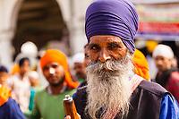 Asia,India,Punjab, Anandpur Sahib, sikh pilgrim with his turban to the Holla Mohalla annual festival