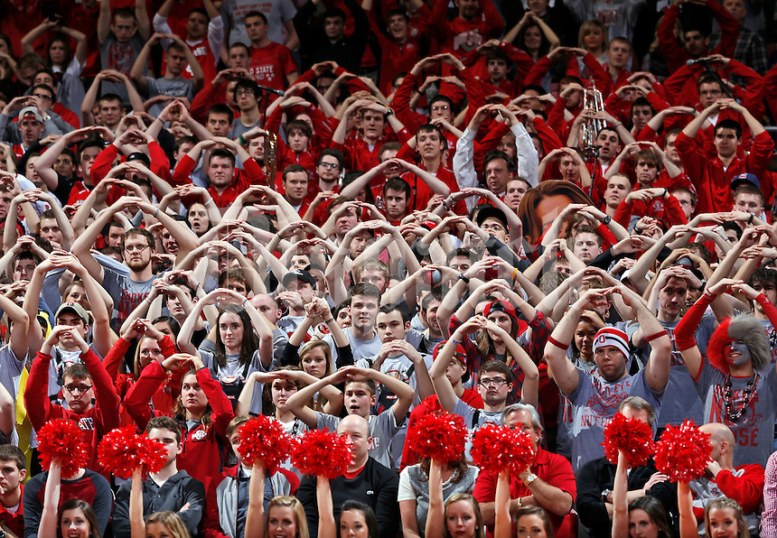 "The Ohio State Buckeyes student section shows their ""Block O"" as they cheer on their team during the second half of the NCAA men's basketball game between the Ohio State Buckeyes and the Minnesota Golden Gophers at Value City Arena in Columbus, Ohio, on Saturday, Feb. 22, 2014. The Buckeyes overcame a 10-point deficit at the half to defeat the Minnesota Golden Gophers 64-46. (Columbus Dispatch/Sam Greene)"