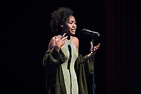 Darla Howell '20 presented a poem that brought the house down.<br /> Occidental College students perform and compete during Apollo Night, one of Oxy's biggest talent showcases, on Feb. 24, 2017 in Thorne Hall. Sponsored by ASOC and hosted by the Black Student Alliance as part of Black History Month.<br /> (Photo by Marc Campos, Occidental College Photographer)