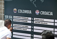 BOGOTA - COLOMBIA – 14 – 09 -2019: Tablero muestra los nombres de los jugadores, durante sorteo de la Copa Davis entre los equipos de Colombia y Croacia, partidos ascenso al Grupo Mundial de Copa Davis por BNP Paribasen la Plaza de Toros La Santamaria en la ciudad de Bogota.  / Table shows the names of the players, during Davis Cup draw between the teams of Colombia and Croatia, matches promoted to the World Group Davis Cup by BNP Paribas, at the La Santamaria Ring Bull in Bogota city. / Photo: VizzorImage / Luis Ramirez / Staff.