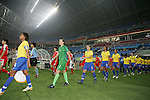 09 August 2008: The Olympic teams of Brazil and North Korea enter the field of play.  The women's Olympic soccer team of Brazil defeated the women's Olympic soccer team of North Korea 2-1 at Shenyang Olympic Sports Center Wulihe Stadium in Shenyang, China in a Group F round-robin match in the Women's Olympic Football competition.