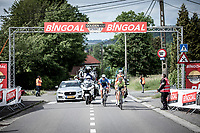 "Baptiste Planckaert (BEL/Wallonie Bruxelles), Niki Terpstra (NED/Total Direct Energie) and  Oscar Riesebeek (NED/Roompot Charles) with the decisive break away at the 'Golden KM"". <br /> <br /> <br /> Circuit de Wallonie 2019<br /> One Day Race: Charleroi – Charleroi 192.2km (UCI 1.1.)<br /> Bingoal Cycling Cup 2019"