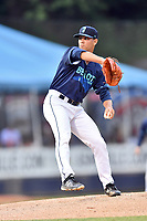 Beer City Tourists starting pitcher Nick Kennedy (8) delivers a pitch during a game against the Greenville Drive at McCormick Field on May 24, 2018 in Asheville, North Carolina. The Tourists defeated the Drive 4-2. (Tony Farlow/Four Seam Images)