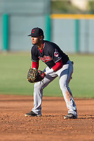 AZL Indians 1 first baseman Miguel Jerez (26) during an Arizona League game against the AZL Cubs 1 at Sloan Park on August 27, 2018 in Mesa, Arizona. The AZL Cubs 1 defeated the AZL Indians 1 by a score of 3-2. (Zachary Lucy/Four Seam Images)