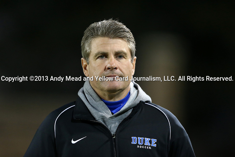 25 October 2013: Duke head coach John Kerr. The Duke University Blue Devils hosted the Wake Forest University Demon Deacons at Koskinen Stadium in Durham, NC in a 2013 NCAA Division I Men's Soccer match. The game ended in a 2-2 tie after two overtimes.