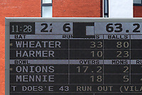 A problem with the electronic scoreboard makes the Essex total difficult to read during Lancashire CCC vs Essex CCC, Specsavers County Championship Division 1 Cricket at Emirates Old Trafford on 11th June 2018