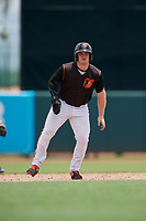GCL Orioles Harris Yett (17) leads off second base during a Gulf Coast League game against the GCL Braves on August 5, 2019 at Ed Smith Stadium in Sarasota, Florida.  GCL Orioles defeated the GCL Braves 4-3 in the second game of a doubleheader.  (Mike Janes/Four Seam Images)