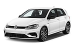 2019 Volkswagen Golf R 5 Door Hatchback Angular Front stock photos of front three quarter view