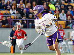 UAlbany Men's Lacrosse defeats Stony Brook on March 31 at Casey Stadium.  Tehoka Nanticoke (#1) shoots.