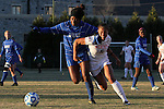 29 November 2013: Duke's Natasha Anasi (4) and Virginia Tech's Jazmine Reeves (5). The Virginia Tech University Hokies played the Duke University Blue Devils at Thompson Field in Blacksburg, Virginia in a 2013 NCAA Division I Women's Soccer Tournament Quarterfinal match. Virginia Tech won the game 3-0.