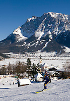 Austria, Tyrol: Lermoos and Zugspitze mountain - Ski run