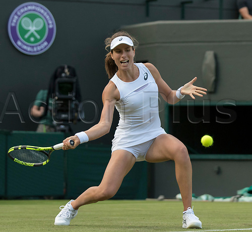 July 3rd 2017, All England Lawn Tennis and Croquet Club, London, England; The Wimbledon Tennis Championships, Day 1; Johanna Konta (GBR) thanks the spectators after winning her match against Su Wei Hsieh (TPE)