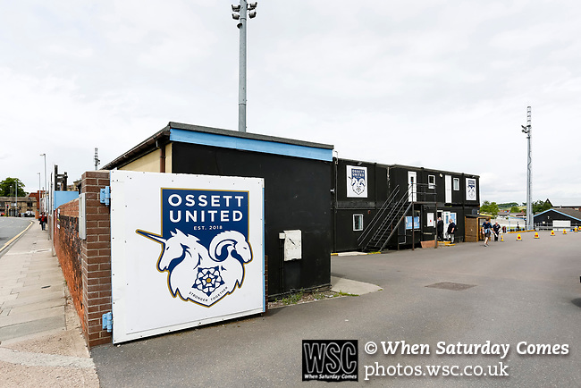 Ingfield Stadium entrance, Ossett. Yorkshire v Parishes of Jersey, CONIFA Heritage Cup, Ingfield Stadium, Ossett. Yorkshire's first competitive game. The Yorkshire International Football Association was formed in 2017 and accepted by CONIFA in 2018. Their first competative fixture saw them host Parishes of Jersey in the Heritage Cup at Ingfield stadium in Ossett. Yorkshire won 1-0 with a 93 minute goal in front of 521 people. Photo by Paul Thompson