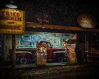 The old-time gasoline station, one of the attractions at Reapers Realm
