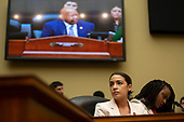 U.S. Representative Alexandria Ocasio-Cortez (Democrat of New York) speaks during the Committee on Oversight and Reform hearing on Capitol Hill in Washington D.C., U.S. to markup a resolution recommending that the House of Representatives find the Attorney General and the Secretary of Commerce in contempt of Congress on June 12, 2019.<br /> <br /> Credit: Stefani Reynolds / CNP