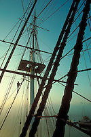 USS Constitution rigging, sunrise, Charlestown Navy Yard