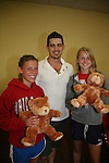 As The World Turns' Evan Alex Cole poses with Paige & Jaime and bears they made on Saturday, May 22 - We Love Soaps Weekend on  May 21 and May 22 2010 at Villa Roma Resort in Callicoon, New York. (Photo by Sue Coflin/Max Photos)