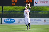 Second baseman Matt Lipka #5 of the Rome Braves makes a catch in shallow right field against the Hagerstown Suns at State Mutual Stadium on May 2, 2011 in Rome, Georgia.   Photo by Brian Westerholt / Four Seam Images