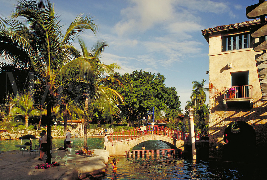 The famous Venetian Pool in Coral Gables, Florida.       resorts, ornate architecture, vacations. Florida.