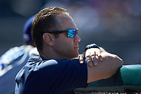 Durham Bulls strength and conditioning coach Bryan King watches the action from the dugout during the game against the Lehigh Valley Iron Pigs at Coca-Cola Park on July 30, 2017 in Allentown, Pennsylvania.  The Bulls defeated the IronPigs 8-2.  (Brian Westerholt/Four Seam Images)