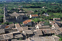 Rooftops of the buildings in Bonnieux Village and the surrounding landscape, Luberon, Provence, France.
