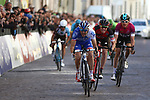 April 21st 2017, Trento, Italy; UCI Tour of the Alps mens cycling tour, stage 5 from Smarano to Trento. Right, GBR's Geraint Thomas (Team Sky) wins the Tour and second left French Thibaut Pinot (FDJ) who ended first at this last stage ended second at the overall, Italy's Domenico Pozzovivo (AG2R La Mondiale) is third. Centre, USA's Brent Bookwalter (BMC)