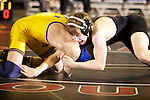 02/26/11--Oregon City's Kyle Sether wrestles Newberg's Garrett Rider in the 103 lb. weight division of the 6A wrestling state championship at the Memorial Coliseum..Photo by Jaime Valdez..........................................