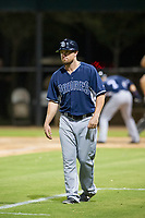 AZL Padres coach Mike McCoy (10) coaches third base during the game against the AZL White Sox on July 31, 2017 at Camelback Ranch in Glendale, Arizona. AZL White Sox defeated the AZL Padres 2-1. (Zachary Lucy/Four Seam Images)