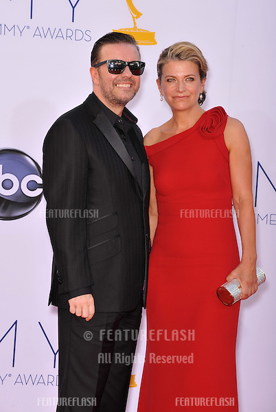 Ricky Gervais & Jane Fallon at the 64th Primetime Emmy Awards at the Nokia Theatre LA Live..September 23, 2012  Los Angeles, CA.Picture: Paul Smith / Featureflash