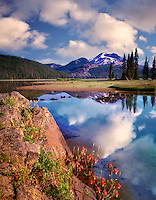 Sparks Lake, South Sister Mountain and wildflowers. Oregon
