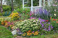 Bass Harbor, Maine: Summer cottage garden and covered porch. Flower garden features sedum 'Autumn Joy', coreopsis, rudbeckia, zinnias, dahlias, echinacea, russian sage, and lavatera
