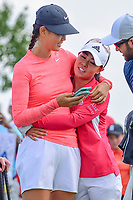 Michelle Wie (USA) and Danielle Kang (USA) share a hug on the 10th tee during Wednesday's preview of the 72nd U.S. Women's Open Championship, at Trump National Golf Club, Bedminster, New Jersey. 7/12/2017.<br /> Picture: Golffile | Ken Murray<br /> <br /> <br /> All photo usage must carry mandatory copyright credit (&copy; Golffile | Ken Murray)