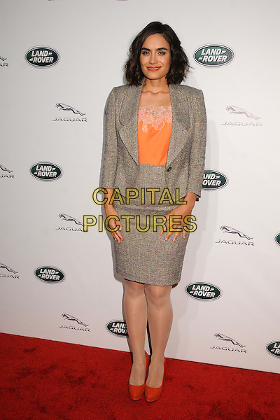 Shannyn Sossamon.Jaguar and Land Rover Celebrate New U.S. Models held at Paramount Studios, Los Angeles, California, USA..November 27th, 2012.full length blazer skirt grey gray orange peach lace tweed top   .CAP/ADM/BP.©Byron Purvis/AdMedia/Capital Pictures.
