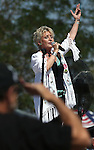 A veteran salutes the flag as Lacey J. Dalton sings the National Anthem during the second annual Basque Fry in Gardnerville, Nev., on Saturday, Aug. 20, 2016. Cathleen Allison/Las Vegas Review-Journal